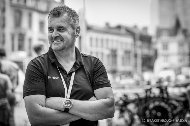 Chris de Vos enjoys a moment of calm at the 2012 Tour de France Prologue in Liege.