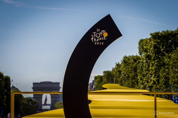"The official Tour de France ""yellow brick road"" on the Champs Elysées in Paris."