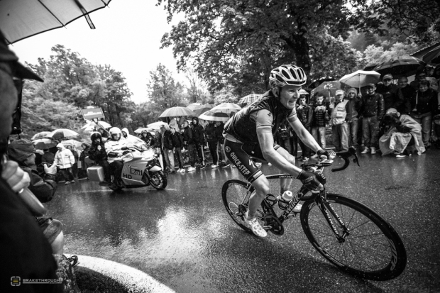 Jim Fryer shooting (Michal Golas of OPQS) in the pouring rain during the 2013 Giro d'Italia when our Canon 5d miii camera body died.
